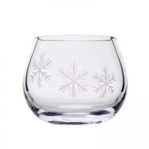 Clear Snowflake Candle Votive - Crystal 100% Hand Cut - The Irish Handmade Glass Company