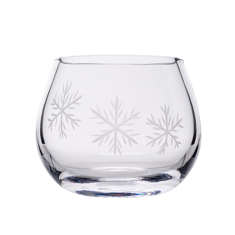 Clear Snowflake Candle Votive - Crystal 100% Hand Cut - The Irish Handmade Glass Company