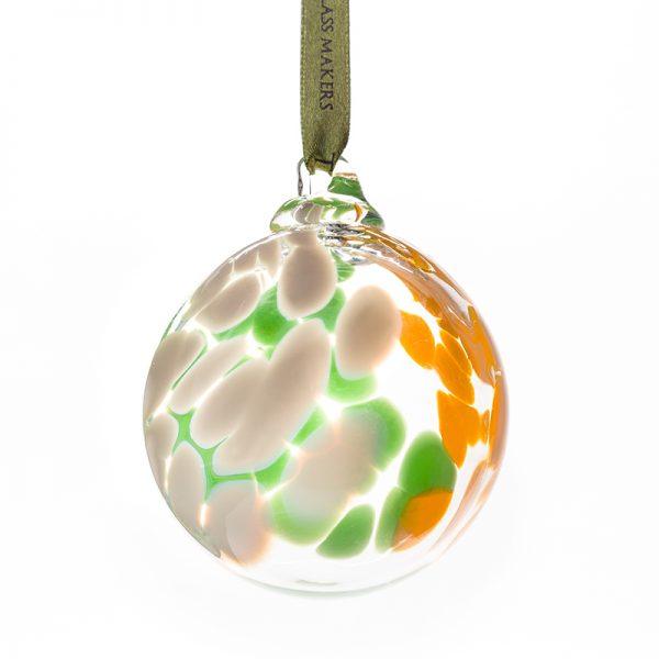 Irish Flag Bauble - Crystal 100% Hand Cut - The Irish Handmade Glass Company