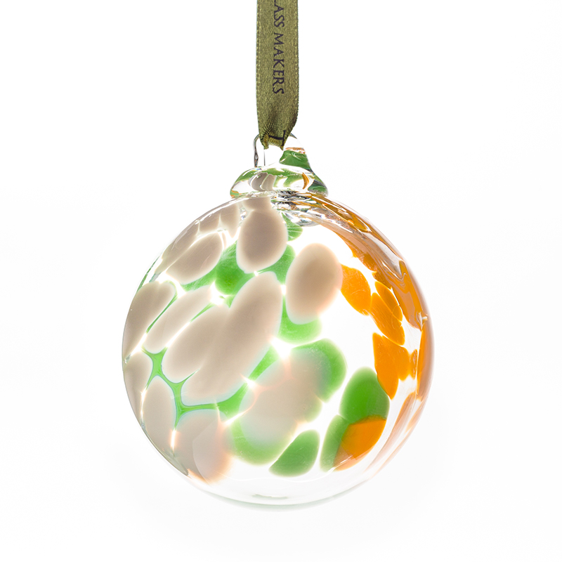 Irish Flag Bauble - Crystal 100% Hand Cut - The Irish Handmade Glass Company