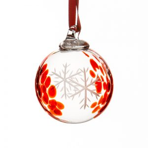 Red Snowflake Bauble - Crystal 100% Hand Cut - The Irish Handmade Glass Company