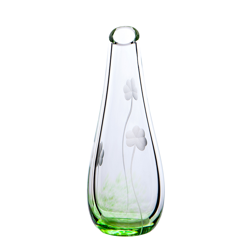 Shamrock Bud Vase - Crystal 100% Hand Cut - The Irish Handmade Glass Company