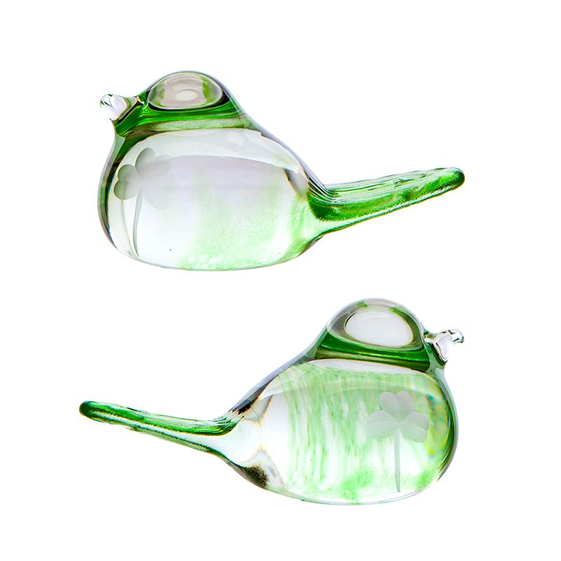 Shamrock Love Birds - Crystal 100% Hand Cut - The Irish Handmade Glass Company