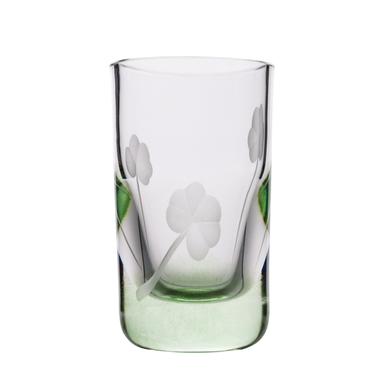 Shamrock Shot Glass - Crystal 100% Hand Cut - The Irish Handmade Glass Company