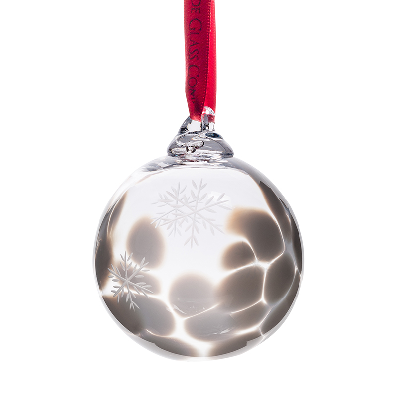 White Snowflake Bauble - Crystal 100% Hand Cut - The Irish Handmade Glass Company