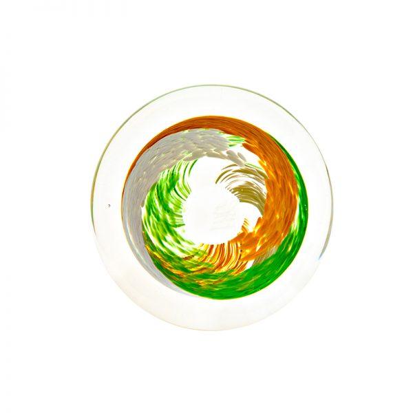 Irish Flag Handcooler - Crystal 100% Hand Cut - The Irish Handmade Glass Company